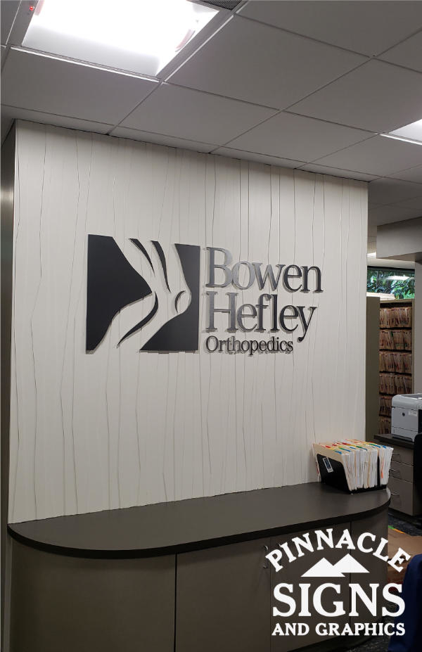 Bowen Hefley Brushed Pewter Laminate on Acrylic Interior Sign