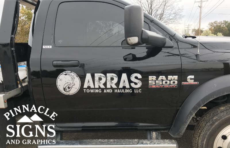 ARRAS Towing and Hauling Vehicle Graphic on truck