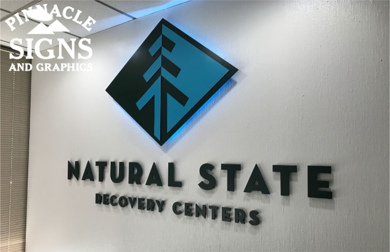 Natural State Recovery Acrylic Letters Lit Panel Interior Sign
