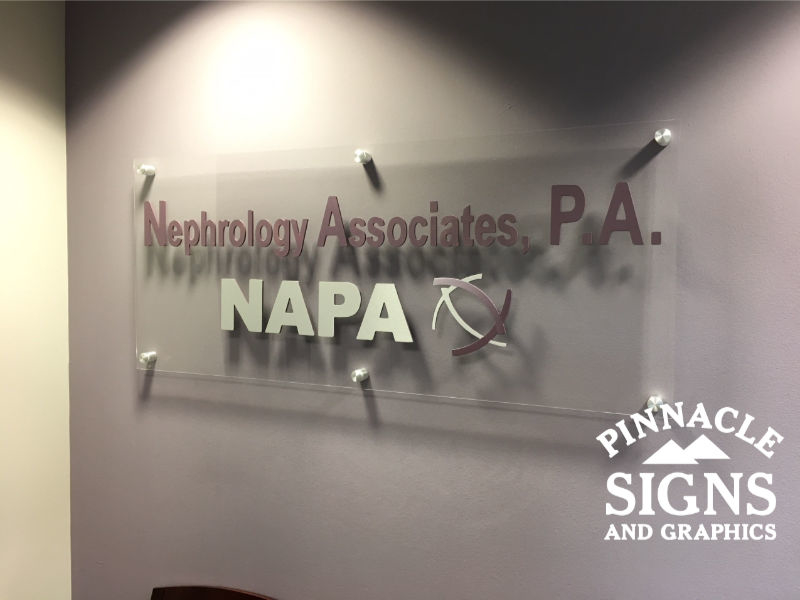 Nephrology Associates Acrylic Standoff Dimensional Letters Interior Sign