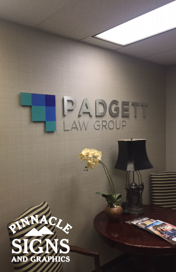 Padgett Law Group Brushed Aluminum Laminate Interior Sign