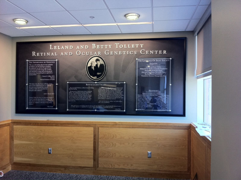 Leland and Betty Tolett Genetics Center Interior Sign